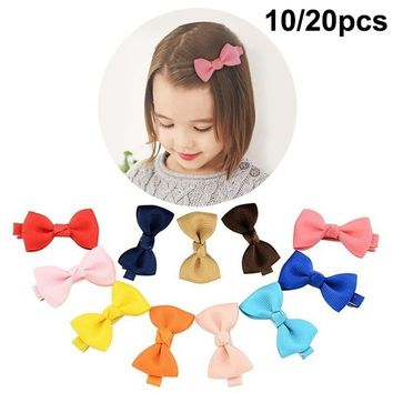 10/20Pcs Cute Girl Baby Kids Hair Bows Band Boutique Alligator Clip Grosgrain Ribbon