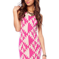 Half the Aztec Dress in Fuchsia and White :: tobi
