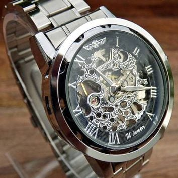Classy Steampunk Mechanical Wrist Watch, Stainless Steel Wristband, Silver & Black Men's Watch, Personalized Engravable Watch - Item MWA501