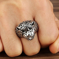 Fashion Leopard Head Silver Titanium Steel Ring