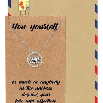 Gabrielle Om Lotus Pendant Necklace, Gifts for Yoga Lover