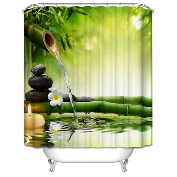 Orchid shower curtain 3d bath curtain hooks polyester fabric Christmas scenery green forest  vintage waterproof bathroom curtain