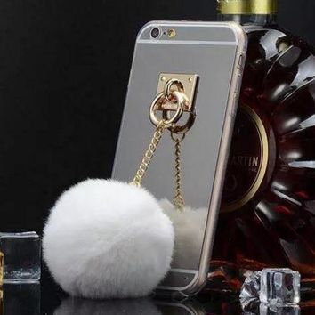Fur Ball Chain Mirror Protective Case For iPhone 6 6sPlus White
