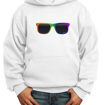 Pride Rainbow Glasses Youth Hoodie Pullover Sweatshirt by TooLoud