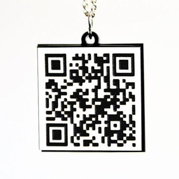 Laser Cut Acrylic Custom QR Code Necklace - Personalized URL Web Address Cell Number SMS or Message