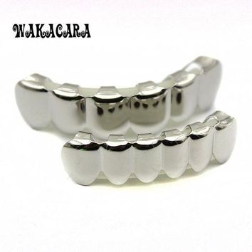 ac PEAPO2Q 6 Tooth FREE SHIPPING Silver Custom Top Bottom GRILLZ Bling Mouth Teeth Caps Hip Hop Grills