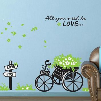 Hot Sale 2016 wall stickers Fresh Nature Green Bicycle Wall Sticker Decal DIY Love Romantic Art Home Decor XT