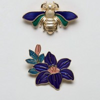 ASOS Enamel Bug & Flower Badges
