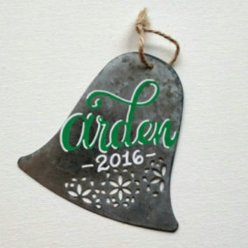 Personalized metal bell Christmas ornament, hand lettered ornament,  bell shape metal ornament, customizable metal ornament.