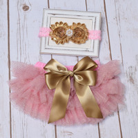 Baby Bloomer Outfit, Baby Tutu, Pink and Gold, Newborn Bloomers, Baby Bloomers, Ruffle Diaper Cover, Newborn Photo Outfit, Bloomers Baby