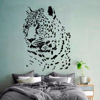 Wall Decals Leopard Vinyl Decal Wild Animals Sticker Home Interior Design Art Mural Living Room Decor Cheetah Art Mural Bedroom Decor KT167