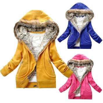 New Korean Fashion Women Warm Faux Fur Lining Hooded Hoodie Coat Jacket  7_S = 1916467588