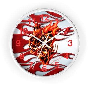 """MV Collection """"Skulls and Flames"""" Wall clock"""