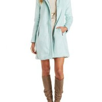 Mint Funnel Neck Brushed Wool Blend Coat by Charlotte Russe
