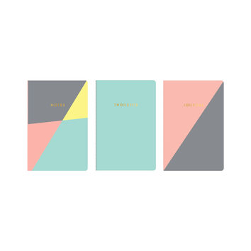 Set of 3 Pocket Journals with Pastel Triangles