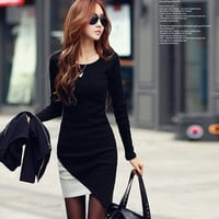 new women 2014 Autumn Winter one-piece dress o-neck long-sleeve patchwork casual pencil dress plus size = 1958465092