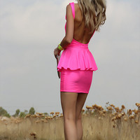 NEON PINK Low Open Back Peplum Mini Dress By designer Justyna G