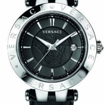 "Versace Men's 23Q99D008 S009 ""V-Race"" 3 Stainless Steel Watch with Leather Band and Interchangeable Bezel"