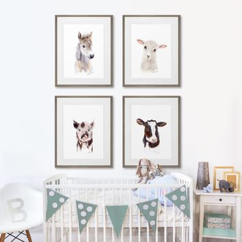 Set of 4 Framed Farm Baby Animal Prints
