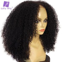 Luffy 180% Density 13*6  Deep Part Brazilian Kinky Curly Lace Front Human Hair Wigs Non-Remy For Black Women With Baby Hair