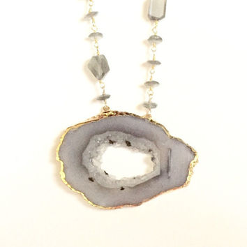 Adena Geode Sliced Labradorite Long Necklace