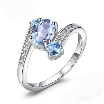 Natural Sky Blue Topaz 2.48 ct Gemstone Ring 925 Sterling Silver ring