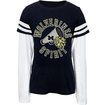 Michigan Wolverines - Rhinestone Spirit Youth 2fer Long Sleeve T-Shirt