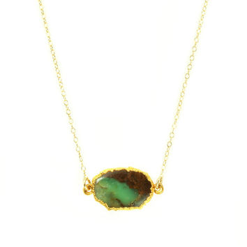 Green Chrysoprase Necklace Natural Stone Slice 14k Gold Necklace Stone Slab Layer Necklace Geode Chrysoprase Pendant Gemstone Necklace