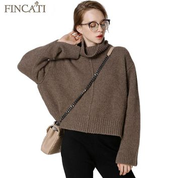 Women Sweater 2017 Runway New Fashion High Grade Pure Cashmere Wool Turtleneck Batwing Sleeve England Style Pullover Jersey