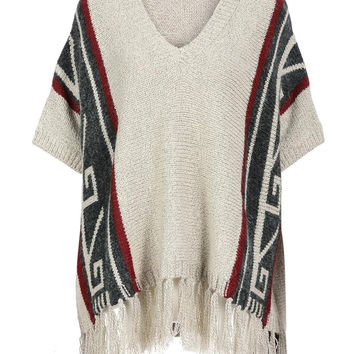 Khaki Knitted Poncho With Fringed Hem