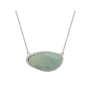 "Aquamarine Slice Stone Pendant Necklace in Sterling Silver, 16"" + Extension"
