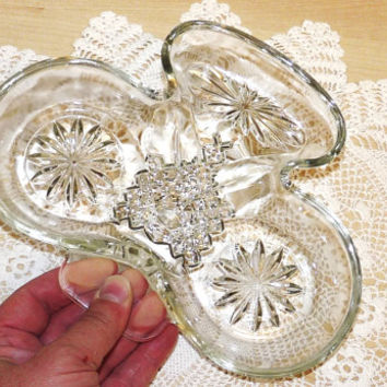Glass Serving Dish or Bowl, Hors d'Ouvres, Nibbles, Candy, Club or Trefoil Design, Chips n Dips, Sweet Dish, Pressed Glass, Clear Glass
