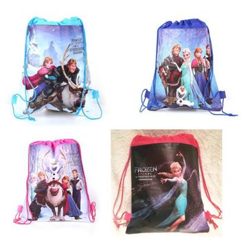 2017 ice queen backpack Bundle pocket school non-woven string shopping bag for boys and girls kids birthday gifts all match