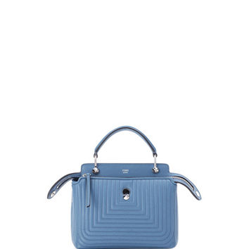 Fendi DOTCOM Mini Quilted Chain Crossbody Bag, Light Blue