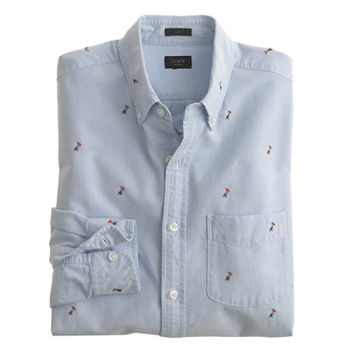 J.Crew Mens Slim Vintage Oxford Shirt With Woven Pelicans