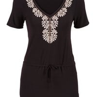 Embroidered Front Tie Waist Tunic Top - Black