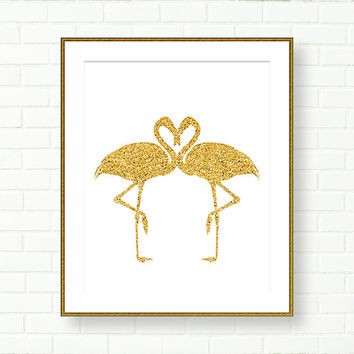 Gold Glitter Art Print, Flamingo, Girl Nursery Prints, INSTANT DOWNLOAD, Printable Art, Vanity Decor, Kids Wall Decor, PRINTABLE Art, Modern