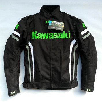 High quality kawasaki have protect motorcycle off-road jacket/racing warm jacket/cycling oxford windproof jakcet