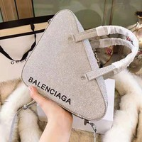 BALENCIAGA Newest Fashionable Women Shopping Bag Leather Triangle Handbag Tote Shoulder Bag Crossbody Satchel Silvery Grey