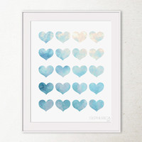 Hearts Art Print, Valentines Decor Love Art, Sky Blue Hearts Print, Printable wall art, Bedroom Decor, Girly Wall Art,