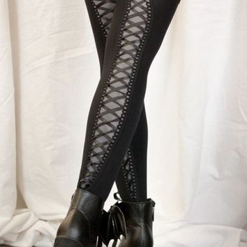 Opaque Thigh High Stockings with Lace Up Back