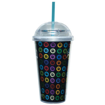 Rainbow Paw Prints Plastic Pint Cup With Straw