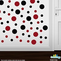 Set of 30 - Black / Red Circles Polka Dots Vinyl Wall Graphic Decals Stickers