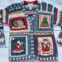 """Ugly Christmas Sweater"" Blue Cozy Cardigan With Santas"