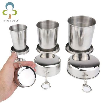 1Pc Stainless Steel Folding Cup Travel Tool Kit Survival EDC Gear Outdoor Sports Mug Portable for Camping Hiking Sport GYH