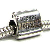 Sterling Silver Forever Together Letter Bead For European Charm 3mm Snake Chain Bracelets Jewelry