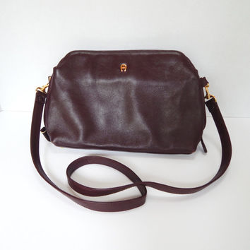 Vintage Etienne Aigner Purse, Oxblood Leather, Shoulder Bag