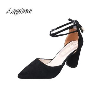 2018 spring summer new shallow rough with a single shoe pointed high heels suede lace hollow sandals female  f064