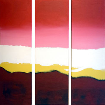"EXTRA LARGE WALL art triptych 3 panel wall art ""Triptych Flats"" paintings on canvas abstract kunst Peintingu pink red 48 x 48"""