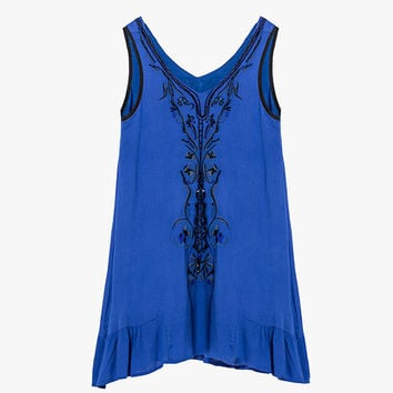 Blue Embroidered and Beaded Mini Tunic Dress